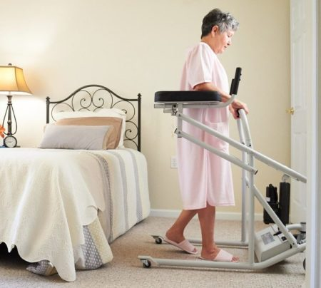 Woman using Liftwalker to Walk from Bedroom